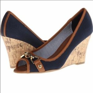 Tommy Hilfiger canvas and cork wedges